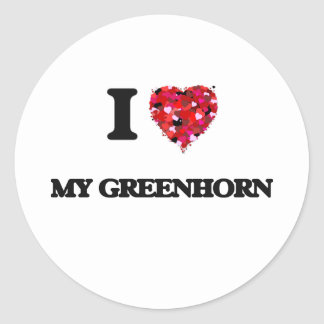 I Love My Greenhorn Round Sticker