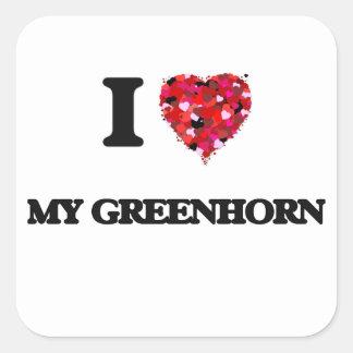 I Love My Greenhorn Square Sticker