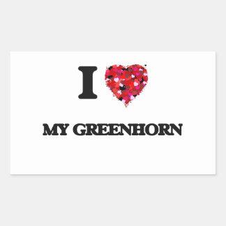 I Love My Greenhorn Rectangular Sticker