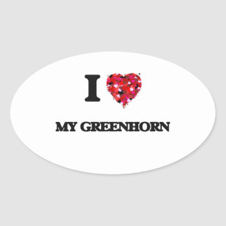I Love My Greenhorn Oval Sticker