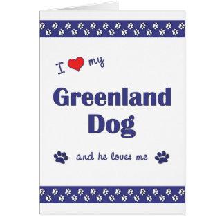 I Love My Greenland Dog (Male Dog) Note Card