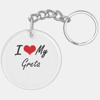 I love my Greta Double-Sided Round Acrylic Key Ring