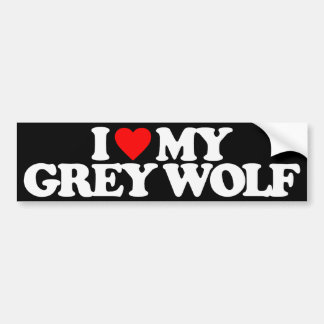 I LOVE MY GREY WOLF BUMPER STICKER