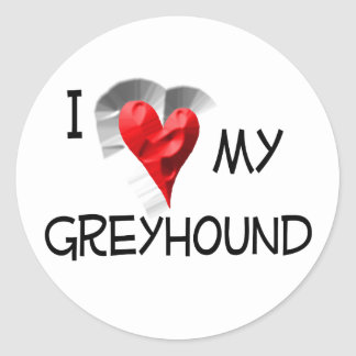 I Love My Greyhound Classic Round Sticker