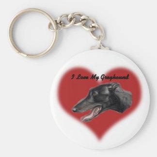 I Love My Greyhound Dog Art Keychain
