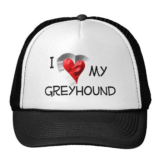 I Love My Greyhound Hats