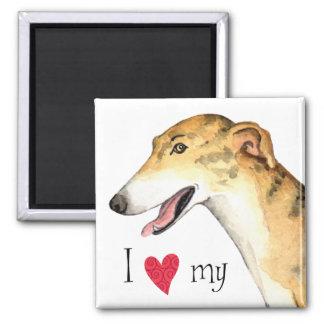 I Love my Greyhound Square Magnet