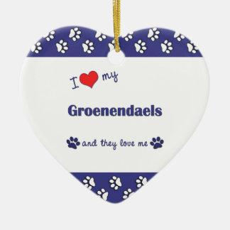 I Love My Groenendaels (Multiple Dogs) Christmas Ornament