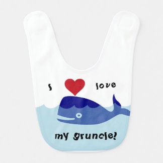 """I love my gruncle!"" whale design Bib"