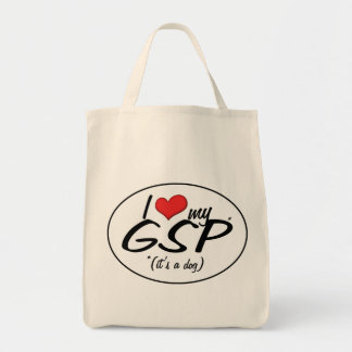 I Love My GSP (It's a Dog) Grocery Tote Bag