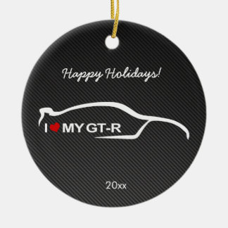 I love my GT-R with Carbon fiber Christmas Ornament