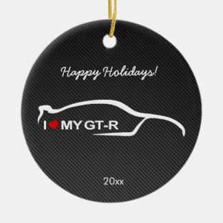 I love my GT-R with Carbon fiber Round Ceramic Decoration