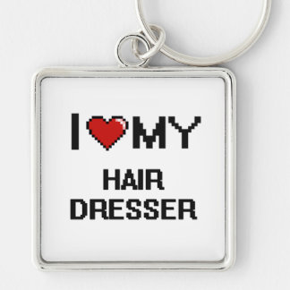 I love my Hair Dresser Silver-Colored Square Key Ring