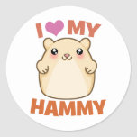 I Love My Hammy Round Sticker