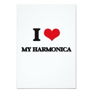 I Love My Harmonica 9 Cm X 13 Cm Invitation Card