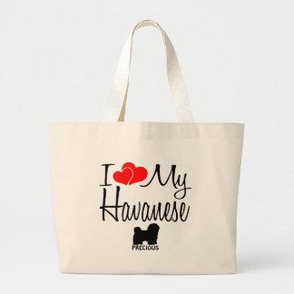 I Love My Havanese Dog Large Tote Bag