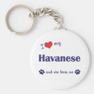 I Love My Havanese (Female Dog) Basic Round Button Key Ring