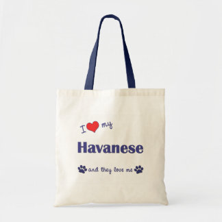 I Love My Havanese (Multiple Dogs) Tote Bag
