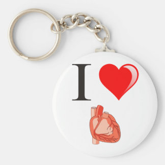 I love my hearts basic round button key ring