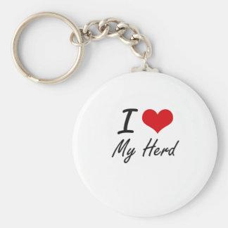 I Love My Herd Basic Round Button Key Ring