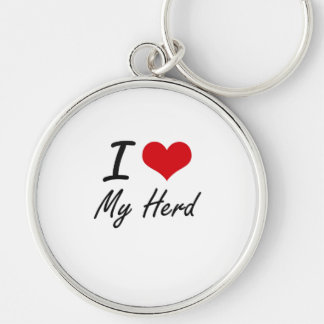 I Love My Herd Silver-Colored Round Key Ring