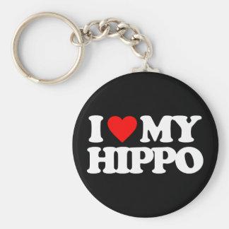 I LOVE MY HIPPO BASIC ROUND BUTTON KEY RING