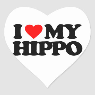 I LOVE MY HIPPO HEART STICKER