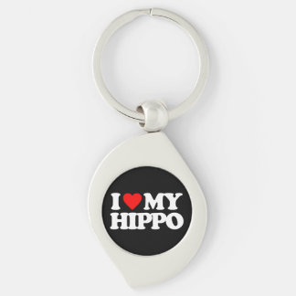 I LOVE MY HIPPO Silver-Colored SWIRL KEY RING