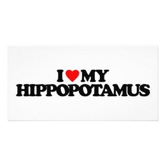 I LOVE MY HIPPOPOTAMUS PHOTO GREETING CARD