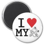 I Love My Hockey Goalie 6 Cm Round Magnet
