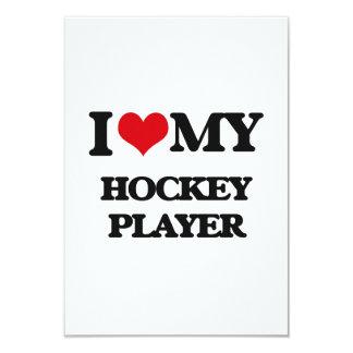 "I love my Hockey Player 3.5"" X 5"" Invitation Card"