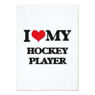 "I love my Hockey Player 5"" X 7"" Invitation Card"