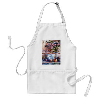 I Love My Home apron with Asters & Fruits