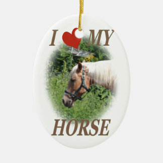 I love my horse ceramic oval decoration
