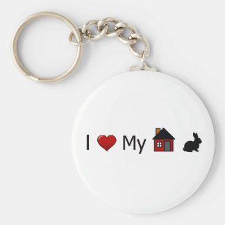 """I Love My House Rabbit"" Keychain"
