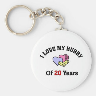 I love my hubby of 20 years basic round button key ring