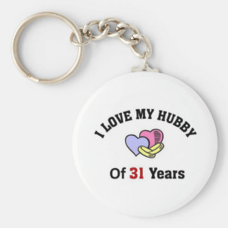 I love my hubby of 31 years basic round button key ring