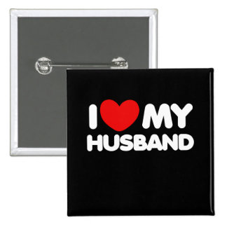 I love my husband 15 cm square badge