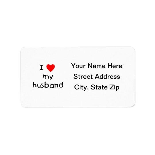 I Love My Husband Address Label