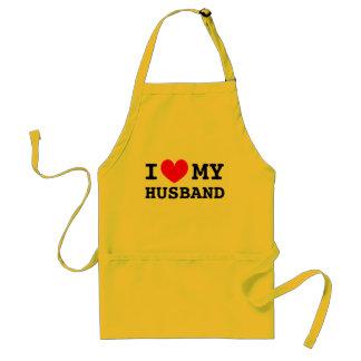 I love my husband aprons for women