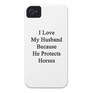 I Love My Husband Because He Protects Horses iPhone 4 Covers
