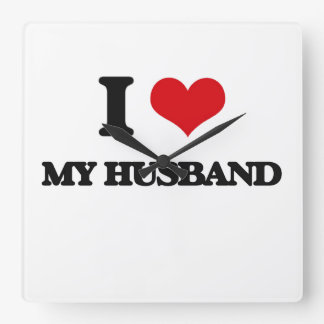 I Love My Husband Square Wallclocks