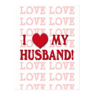 I LOVE MY HUSBAND! HEART VALENTINE POSTCARD