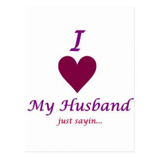 i love my husband post cards