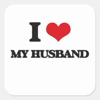 I Love My Husband Square Sticker