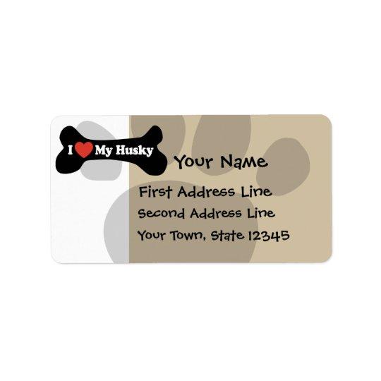 I Love My Husky  - Dog Bone Address Label