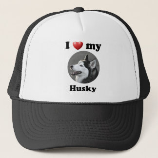 I Love My Husky Trucker Hat