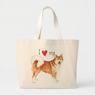 I Love my Icelandic Sheepdog Large Tote Bag