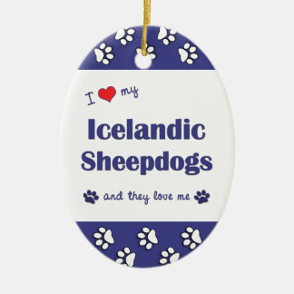 I Love My Icelandic Sheepdogs (Multiple Dogs) Christmas Ornament