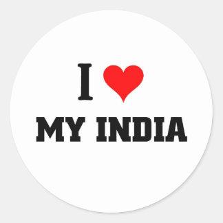 I love my India Round Sticker